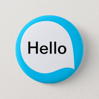 Word Bubble - White on Sky Blue Pinback Button