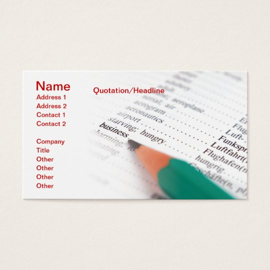 Word Business Business Card