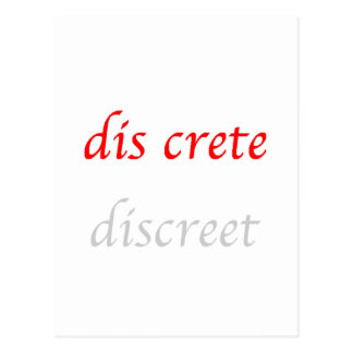 Word Choice: discrete-discreet Postcard