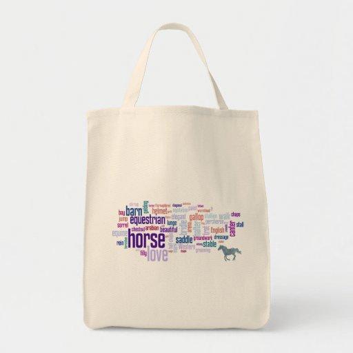 Word Cloud Art Horse Love Horseback Riding Grocery Tote Bag