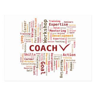Word Cloud Coach Skills Expertise - Red Orange Post Card