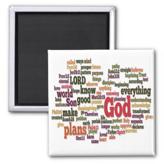 Word Cloud for Top 10 Bible Verses 2 Inch Square Magnet