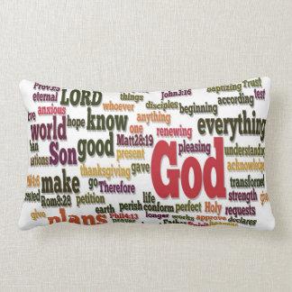Word Cloud for Top 10 Bible Verses Lumbar Pillow