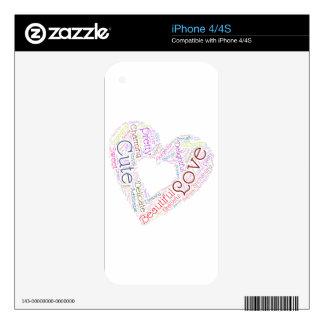 Word Cloud Heart Art iPhone 4 Skins