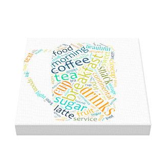Word cloud illustration related to coffee impresiones en lona