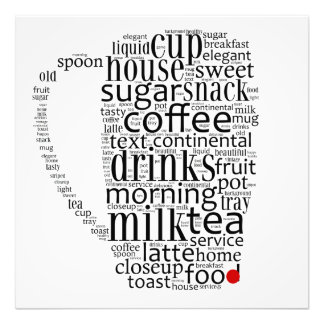 Word cloud illustration related to coffee photo print