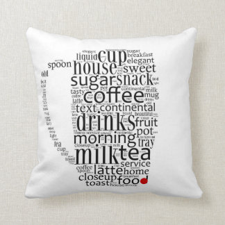 Word cloud illustration related to coffee pillow