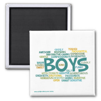 Word Cloud Magnet--The Wonder of Boys 2 Inch Square Magnet