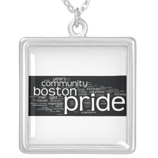 Word Cloud Square Necklace