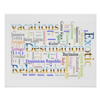 Word cloud  Vacation and Relaxation Text Poster