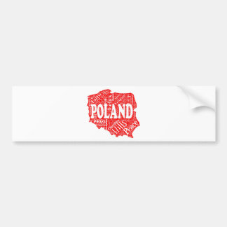 Word cloud with Polish terms in a shape of Poland Bumper Sticker