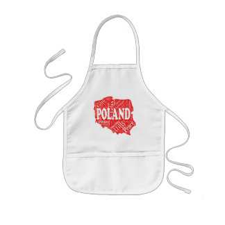 Word cloud with Polish terms in a shape of Poland Kids' Apron