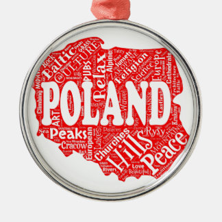 Word cloud with Polish terms in a shape of Poland Metal Ornament