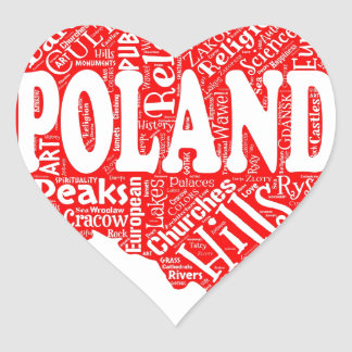 Word cloud with Polish terms in a shape of Poland Heart Sticker