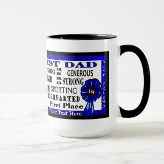Word Collage World Best Dad Blue Ribbon Coffee Mug