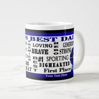 Word Collage Worlds Best Dad Blue Ribbon JUMBO Mug