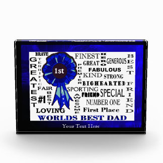Word Collage Worlds Best Dad Blue Ribbon Version Acrylic Award