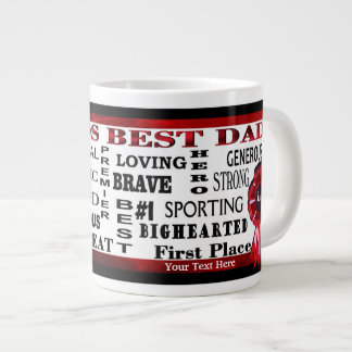 Word Collage Worlds Best Dad Red Ribbon JUMBO Mug
