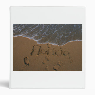 Word Florida in beach sand with wave coming Vinyl Binder
