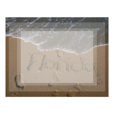 Word Florida in beach sand with wave coming Letterhead Design