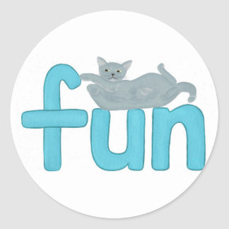word fun in aqua with playful gray cat, stickers