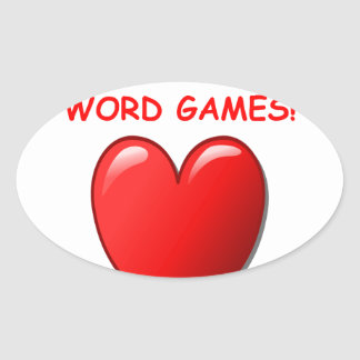word games oval sticker