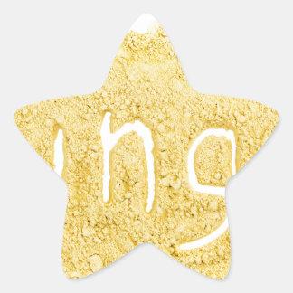 Word Ginger written in spice powder Star Sticker