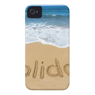 Word holiday written in sand on beach iPhone 4 Case-Mate case