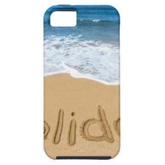 Word holiday written in sand on beach iPhone SE/5/5s case