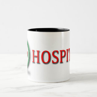 word hospital with red cross on cup