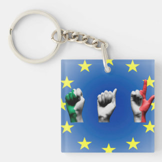 Word Italy over the European Union flag Keychain