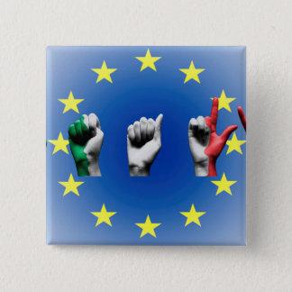 Word Italy over the European Union flag Pinback Button