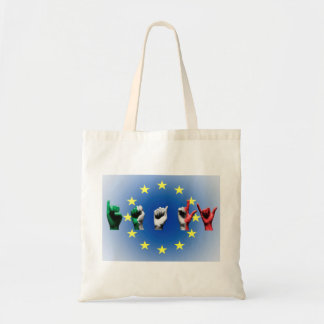 Word Italy over the European Union flag Tote Bag