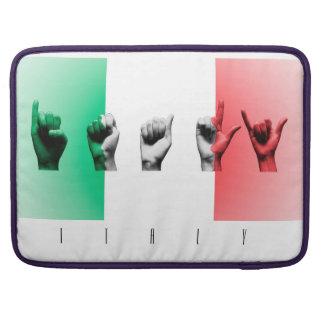 Word Italy over the italian flag Sleeve For MacBooks