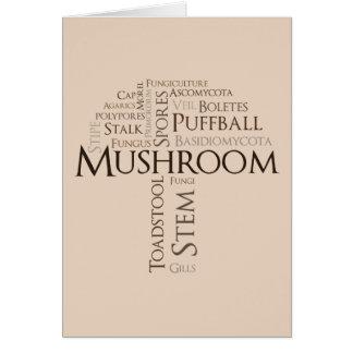 Word Mushroom Birthday Card (Brown Text)
