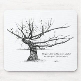 Word Of God Forever: Gnarled Tree in Pencil Mouse Pad
