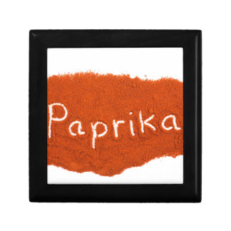 Word paprika written in paprika powder jewelry box