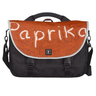 Word paprika written in paprika powder laptop messenger bag