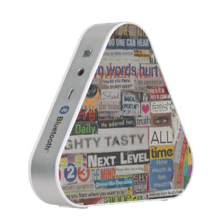 Word phrase clippings from word collage speaker