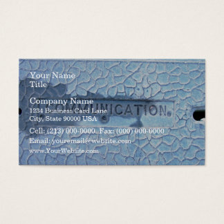 Word recessed into concete cover business card