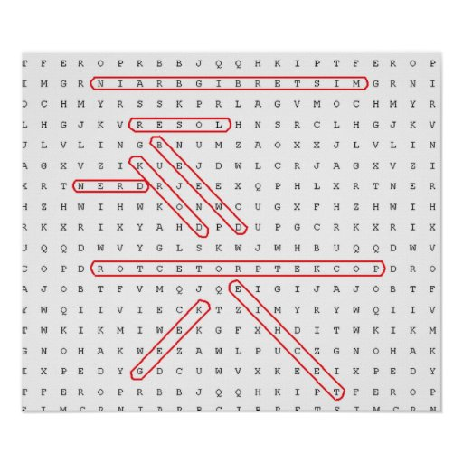 Word Search Geek Poster
