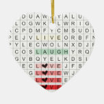 Word Search Love Double-Sided Heart Ceramic Christmas Ornament