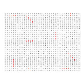 Word Search Puzzle LOVE Graphic Postcard