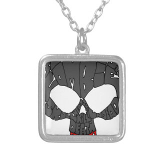 Word Skull Square Pendant Necklace