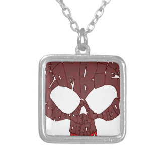 Word Skull Red Square Pendant Necklace