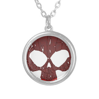 Word Skull Red Round Pendant Necklace