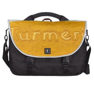 Word Turmeric written in powder on white backgroun Computer Bag