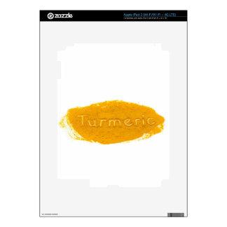 Word Turmeric written in powder on white backgroun Decal For iPad 3