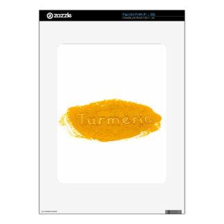 Word Turmeric written in powder on white backgroun Decal For The iPad