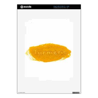 Word Turmeric written in powder on white backgroun iPad 2 Decals